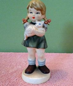 Avon Doll Girl holding a cat Vintage 6 tall 1973 by VICKIESTREET, $9.00