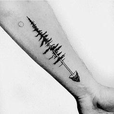 Mens Simple Tree Arrow Inner Forearm Tattoo