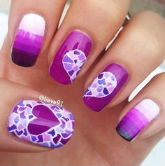 A really pretty Purple nail art design with mosaic design. The gradient and mosaic design that forms a heart makes the nails look really eye catching and interesting.