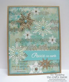 Basic Grey solid cs, flecked with beige, stamped the music and text, stamped snowflakes in aqua and embossed white w/  sponge tumbled glass, edged panel w/ br. china, the craft's meow