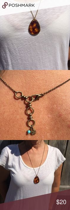 Lucky Brand Dark Amber Necklace Beautiful! Perfect condition Lucky Brand Jewelry Necklaces