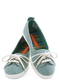 Walk of the Town Flat in Turquoise - Low, Woven, Blue, White, Solid, Casual, Good, Lace Up, Variation, Spring, Summer