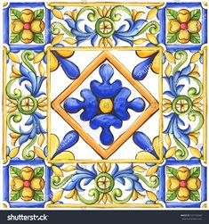 Ornaments on the tiles watercolor spain italy Majolica floral ornament Italian Pattern, Tuile, Tile Art, Calligraphy Art, Tile Patterns, Watercolor Art, Art Nouveau, Hand Painted, Illustrations