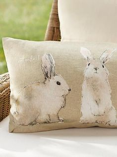 Cottontail bunny pillows from Pottery Barn, so cute for Easter and spring, or all summer on a porch. Hoppy Easter, Easter Bunny, Easter Eggs, Easter Table, Diy Ostern, Easter Parade, Festa Party, Easter Crafts, Easter Decor