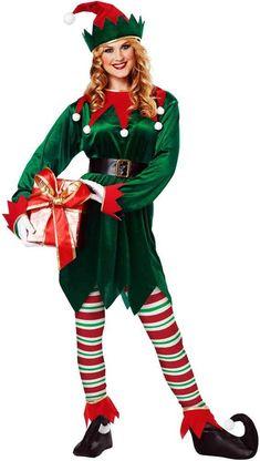 fb50d02118545 Santa's Little Helper Costume Unisex Kid Adult Cosplay Suit Christmas Elf  Outfit | eBay