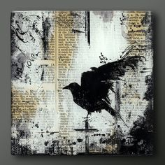 Items similar to Raven Handmade 5 Inch Square Flat Glass and Wood Wall Blox from Upcycled Dictionary page book art - WilD WorDz - Nevermore 1 on Etsy Kunstjournal Inspiration, Art Journal Inspiration, Painted Driftwood, Newspaper Art, Bird Artwork, Foto Art, Collage Techniques, Indigenous Art, Collage Art
