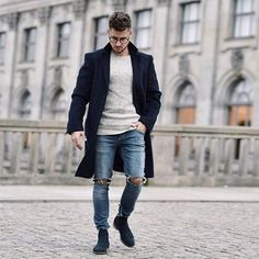 the casual take // menswear, mens style, fashion, topcoat, glasses, sweater, denim, hair cut, hairstyle #sponsored