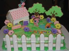 I did this Homemade Littlest PetShop Cottage Birthday Cake for my niece's Birthday. She loves the Littlest PetShop toys and wanted that to be the theme Cool Birthday Cakes, 9th Birthday, Girl Birthday, Birthday Ideas, Birthday Parties, Themed Parties, Party Themes, Party Ideas, Lps Cakes