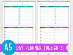 Day Planner Design 3 Planner Printable by PerfectlyOrganised Printable Planner, Printables, Work Planner, Day Planners, A5, Etsy, Design, Print Templates, Day Designer Planner