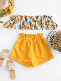 Off Shoulder Pineapple Top And Paperbag Shorts Set YELLOW , Source by tigerigbig outfits verano Cute Comfy Outfits, Cute Girl Outfits, Kids Outfits Girls, Teenager Outfits, Pretty Outfits, Stylish Outfits, Emo Outfits, Girls Fashion Clothes, Summer Fashion Outfits