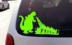 Godzilla vs Stick Figure Family Window Sticker Decal | eBay