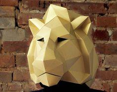 Lion Head Big mask School play Mask DIY papercraft PDF