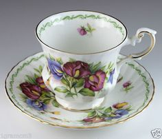 Collectible Tea Cups | Vintage Bone China Queens Rosina Floral Tea Cup & Saucer Made In ...