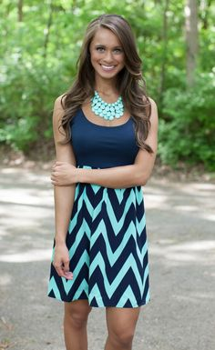 The Pink Lily Boutique - Navy and Mint Chevron Mini Dress Curvy, $39.00 (http://thepinklilyboutique.com/navy-and-mint-chevron-mini-dress-curvy/)