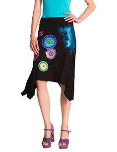 Desigual Lima - Jupe - Évasée - Imprimé - Femme - Noir (Negro) - FR: 34 (Taille fabricant: XS) Desigual http://www.amazon.fr/dp/B00OJ9BVH4/ref=cm_sw_r_pi_dp_W6b8vb0DA7YXE