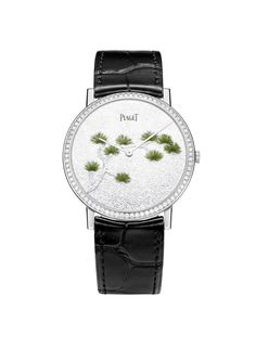 Piaget Altiplano watch with a white gold case set with 78 brilliant-cut diamonds.This watch have engraved dial with transparent and miniature enamel. Manufacture Piaget 430P, ultra-thin hand-wound mechanical movement. The bracelet in black alligator.