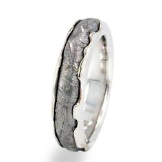 10k White Gold Meteorite Ring Wedding Band With Gibeon Inlay