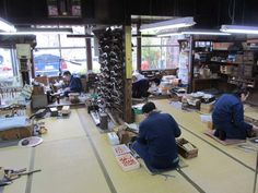 The Gyokusendo workshop. Here we saw employs making spouts for teapots, engraving teas scoops, shaping handles, and preparing material. We were told that each employ is capable of doing every step of the process, and no one does just a single job.