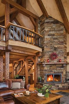 Awesome Log Cabin Stone Fireplace