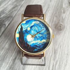 Starry Night Watch, Van Gogh Painting, Fine Art Print, Wedding Party,... ($12) ❤ liked on Polyvore featuring men's fashion, men's jewelry and men's watches