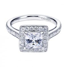 14K White Gold Square Halo Princess Diamond Engagement Ring