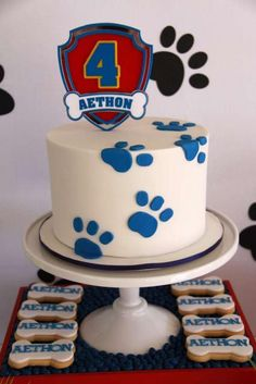 Paw Patrol birthday party cake and cookies! See more party ideas at CatchMyParty. Paw Patrol birthday party cake and cookies! See more party ideas at CatchMyParty… Paw Patrol bir Bolo Do Paw Patrol, Paw Patrol Torte, Paw Patrol Cupcakes, Paw Patrol Cake Toppers, 4th Birthday Parties, Birthday Fun, Birthday Cakes, Birthday Ideas, Fondant Cakes