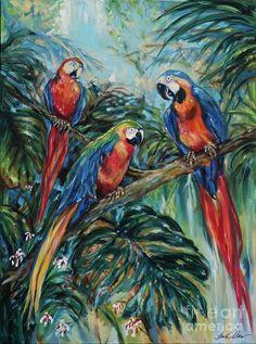 Ocean Painting - Parrot Choir by Linda Olsen