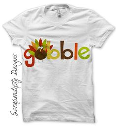 Iron on Thanksgiving Shirt PDF - Gobble Iron on Transfer / Kids Boys Turkey Shirt / Thanksgiving Outfits Baby Girl / Gobble Dress IT310-C
