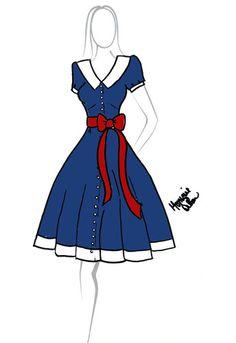 Rockabilly Button Down Dress with Sash
