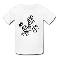 Zebra on a kid's T-Shirt. #Spreadshirt #Cardvibes #Tekenaartje #cute