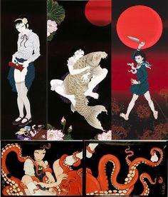 Bizarre Art, Weird Art, Japanese Graphic Design, Japanese Prints, Octopus Illustration, Ero Guro, Japanese Dragon Tattoos, Dark Art Drawings, Arte Horror