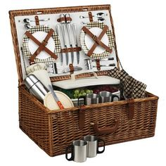 Picnic at Ascot Dorset English-Style Willow Picnic Basket with Service for 4 w/Coffee Set