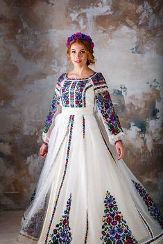 Exclusive designers embroidered dress, from designer Oksana Polonets Stylish Dresses For Girls, Cute Dresses, Girls Dresses, Boho Fashion Summer, Girl Fashion, Ethno Style, High Fashion Dresses, Pakistani Dress Design, Traditional Fashion