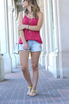 Pink Cami and Denim Shorts with a DIY Rebecca Minkoff Purse Creation!