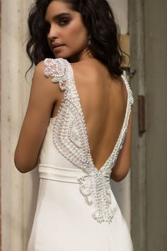 Anna Campbell Bridal | Blake Dress | Silk crepe de chine wedding dress with ivory hand-beaded embellishment back details | Fitted, sexy silhouette perfect for fashion forward and modern romantic brides! #modernbridal #modernbride #fittedweddingdress #backdetails #beadedweddingdress #romanticweddingdress