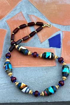 Gray Colorful paper bead necklace and bracelet Olive Purple and Blue  necklace set Recycled paper jewelry set Teal