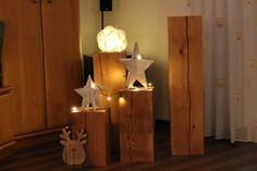 Beistelltische - Holzklotz Deko Eiche 20 x 20 x 60 cm Massiv Säule - ein Designerstück von kuestendeko_Holz bei DaWanda