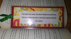 Dr.Seuss quote bookmark, handmade by me =)