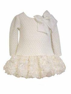 Bonnie Jean Long Sleeve Pucker Knit Dress w/ Sequin Hemline & Bow
