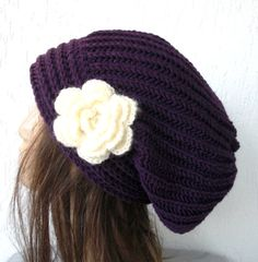 Hand Knit Hat- Womens hat - chunky knit Slouchy  Purple  Beanie with flower  Slouch  Hat   Fall Winter Accessories   Beanie Autumn Fashion