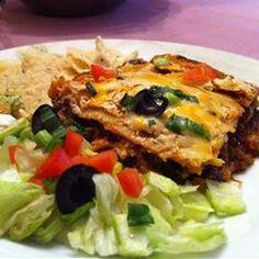 Layered Chicken and Black Bean Enchilada Casserole