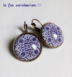 boucles d'oreilles dormeuses * Marrakech * ethnique marocain mandala rosace, bleu, cabochon verre : Boucles d'oreille par la-fee-carabochon