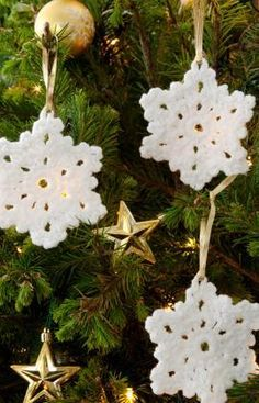 Time to Start Your Christmas Crochet – Free Crochet Christmas Ornaments from Karla's Making It Disclosure: Some of the links on this page may be affiliate links and if you make a purcha… Crochet Christmas Ornaments, Holiday Crochet, Snowflake Ornaments, Christmas Snowflakes, Christmas Crafts, Christmas Decorations, Christmas Tree, Tree Decorations, Easy Snowflake