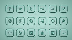 Rounded Square Social Icons Free PSD