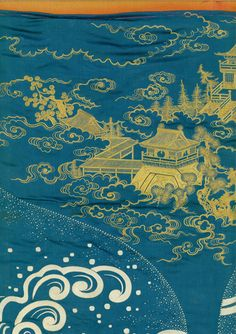 detail of gift cover, Mid-Edo period (1750-1825), featuring rare motifs of an illusion of palaces in the bubbles of a clam's breath. Yorke Antique Textiles