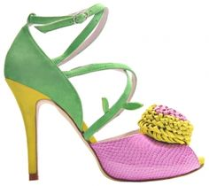 Minna Parikka - Pompom Peep-Toe Multicolour http://www.minnaparikkashop.com/category/12/high-heels-8-10-cm#