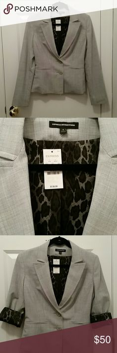 Express Women's Blazer NWT light gray Express Design Studio women's blazer with cheetah print lining (dark and light purple/black).  Wear with sleeves rolled up or down.  Make me an offer! Express Jackets & Coats Blazers