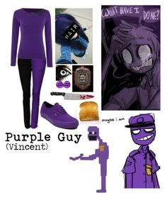 """Purple Guy"" by sky-alex ❤ liked on Polyvore featuring Lauren Ralph Lauren, Vans, vincent, youcant, fnaf and PurpleGuy"