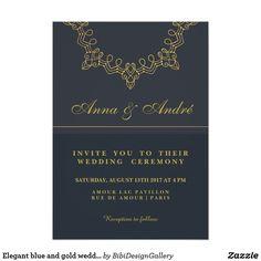 Elegant blue and gold wedding Invitation card