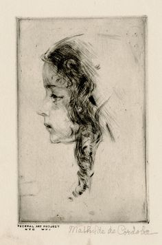 Untitled Profile of little girl (WPA) by Mathilde de Cordoba